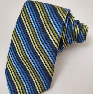 Jos. A. Bank Blue and Green Striped Silk Tie